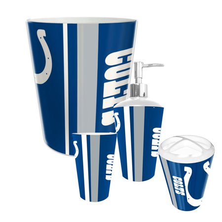 Indianapolis colts nfl complete bathroom accessories 4pc for Bathroom accessories at walmart