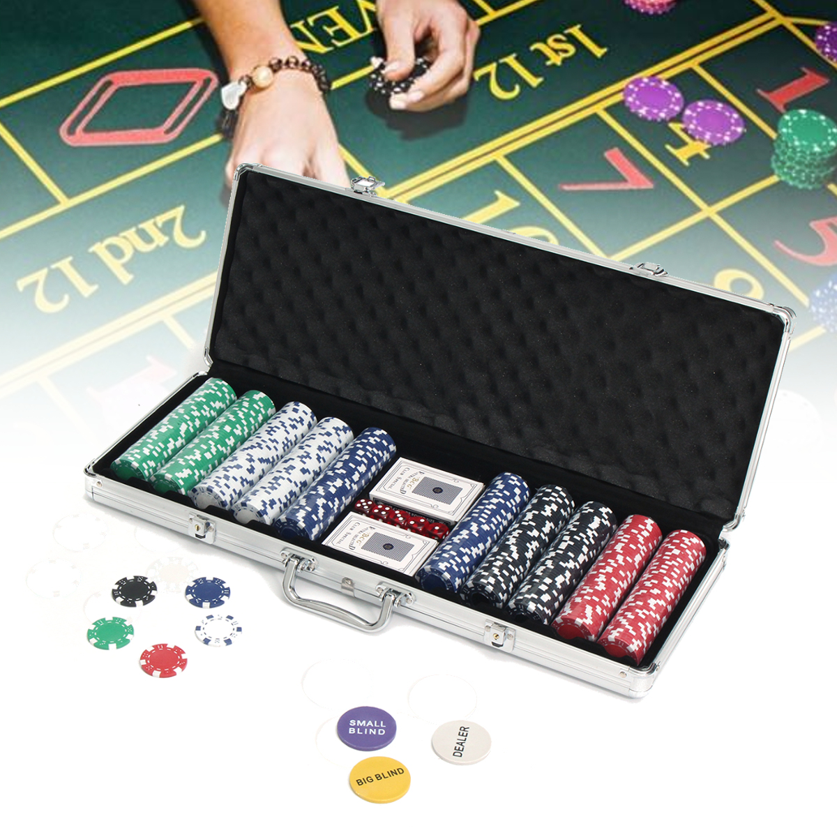 500 Chips Poker Dice Chip Set Game Play Texas Hold'em Cards With Aluminium Case by