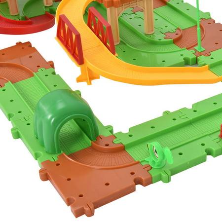 Costway 77PCS B/O Kids Child Plastic Brick Toys Electronic Building Blocks Railway Train - image 6 de 9
