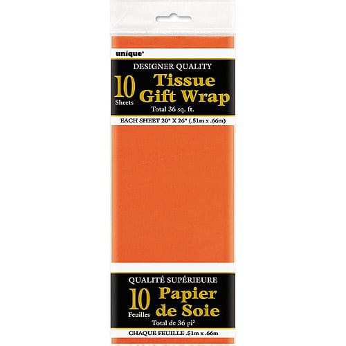 Tissue Paper Sheets, 26 x 20 in, Orange, 10ct