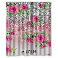 Product Image MOHome Pink Victoria Secret Shower Curtain Waterproof Polyester Fabric Size 60x72 Inches