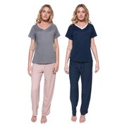2 Pack: Womens Pajama Sets Ladies Short Sleeve V-Neck Tops Pants Bottoms Pijama PJ Sleepwear Lounge Night Wear,Set D-Large