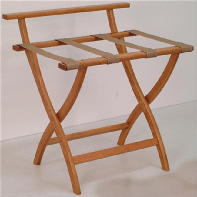 Wooden Mallet LR4-MOTAN WallSaver Luggage Rack in Medium Oak with Tan Webbing
