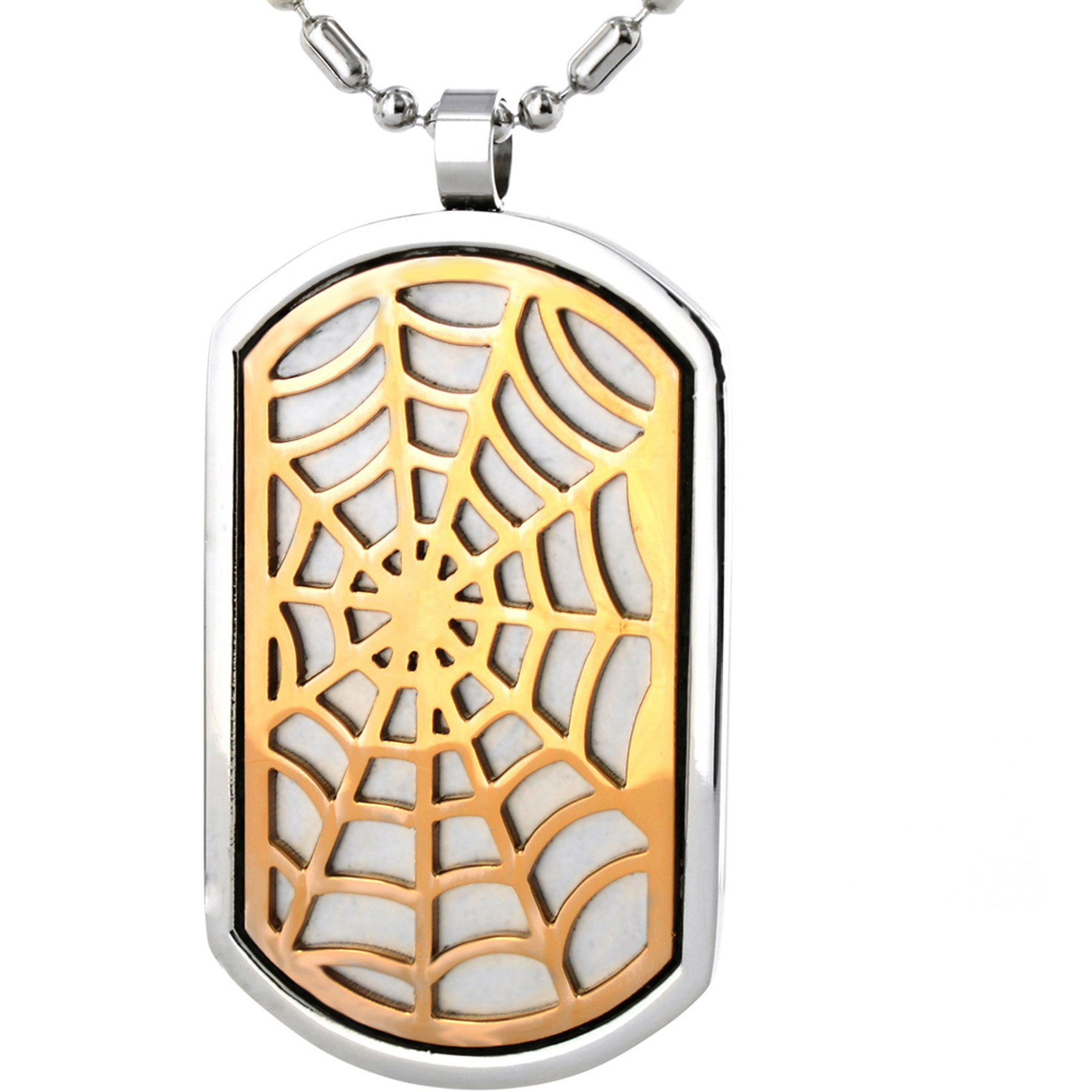 Stainless Steel Dog Tag Necklace with Bronze-Plated Web Design