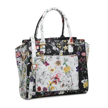 POPPY PU Leather Top Handel Floral Satchel Tote Handbags Women's Flower Print Crossbody Shouder Purse Leather Print Hobo Bag