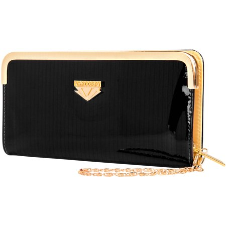 Women's Glossy Clutch Evening Wristlet Wallet Purse with Cell Phone Compartment (fits up to 6.25in x 3.1in) Beaded Fold Over Clutch