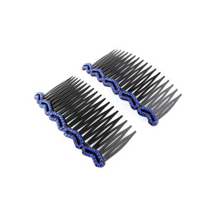 Women Heart Shap Rhinestone Hair Comb Clip Slide Hairclip  2pc