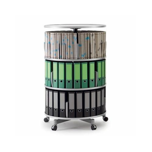Moll Deluxe Binder & File Carousel Shelving, Three Tier, Graphite BDSCL380