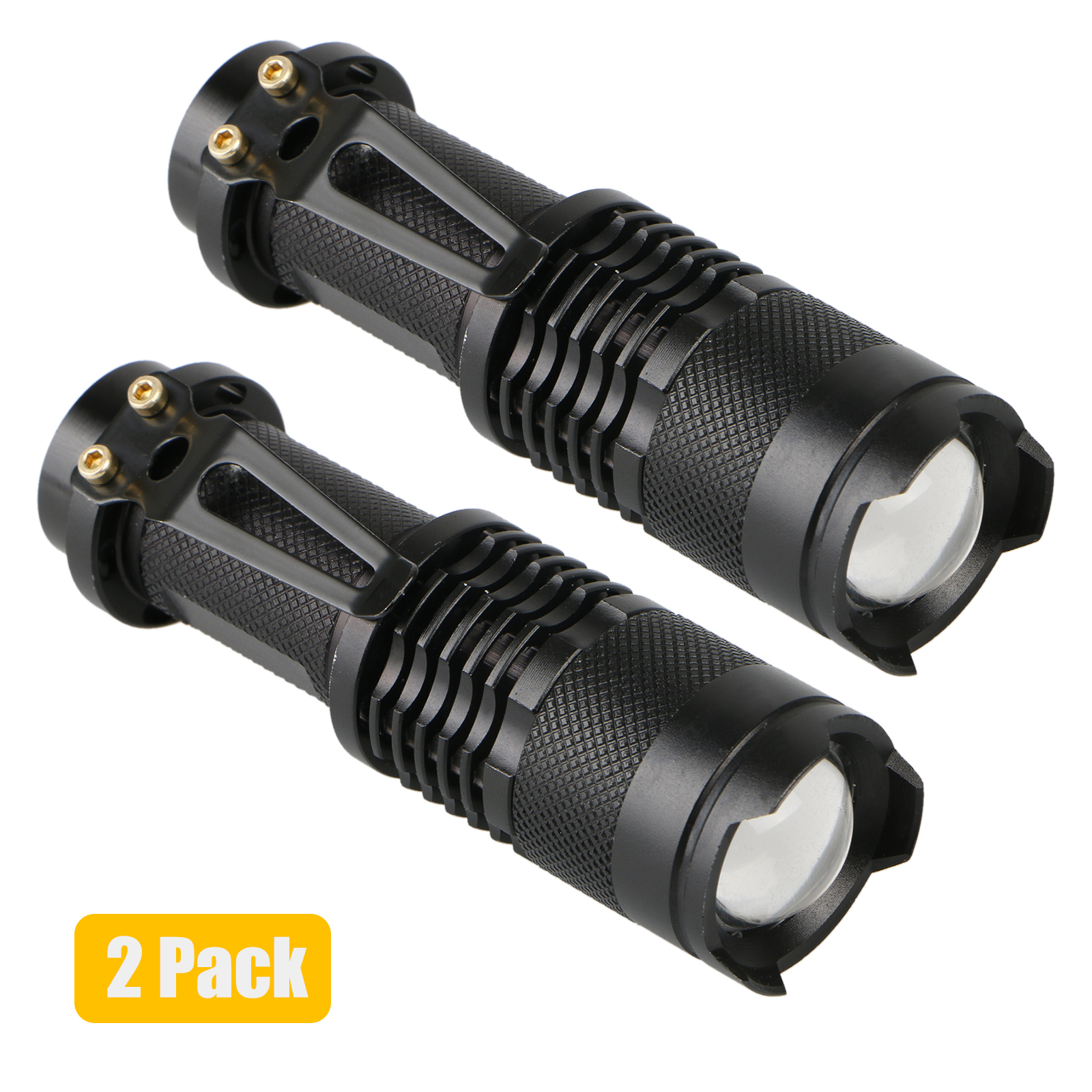 2-pack Super Bright LED Tactical Flashlight Military Grade Zoomable Adjustable Focus Water Resistant Torch Light Lamp