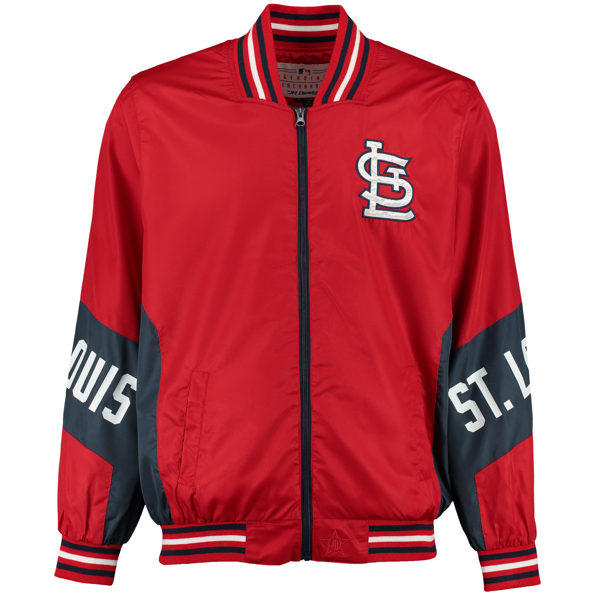 St. Louis Cardinals JH Design Nylon Colorblocked Mesh Lined Full-Zip Jacket - Red