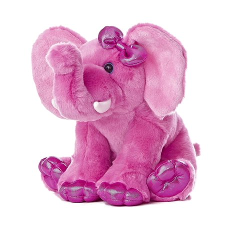 "World Girlz Nation Pink Elephant Plush, 9"", Shimmer fabrics and soft plush combinations By Aurora"