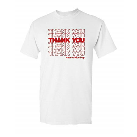 Thank You Bag Sack Tee Thankyou Shop Store Grocery Novelty Classic Funny Humor Pun Graphic Adult Mens T-Shirt (Store Adults)
