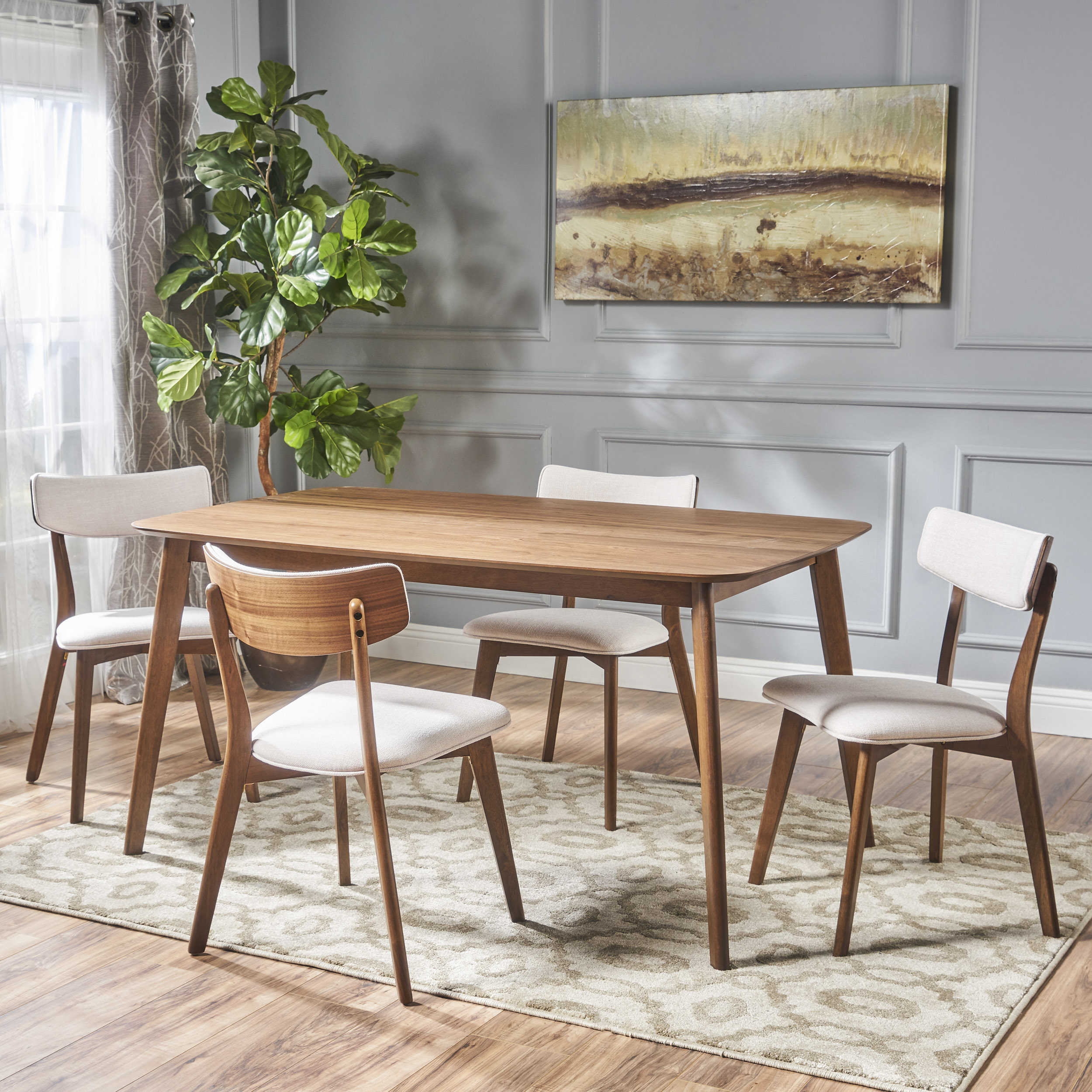 Noble House Lucca Mid Century Natural Walnut Wood Light Beige 5 Piece Dining Set