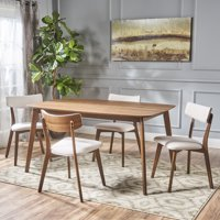 Noble House Lucca Mid Century Natural Walnut Wood Light Beige 5-Piece Dining Set
