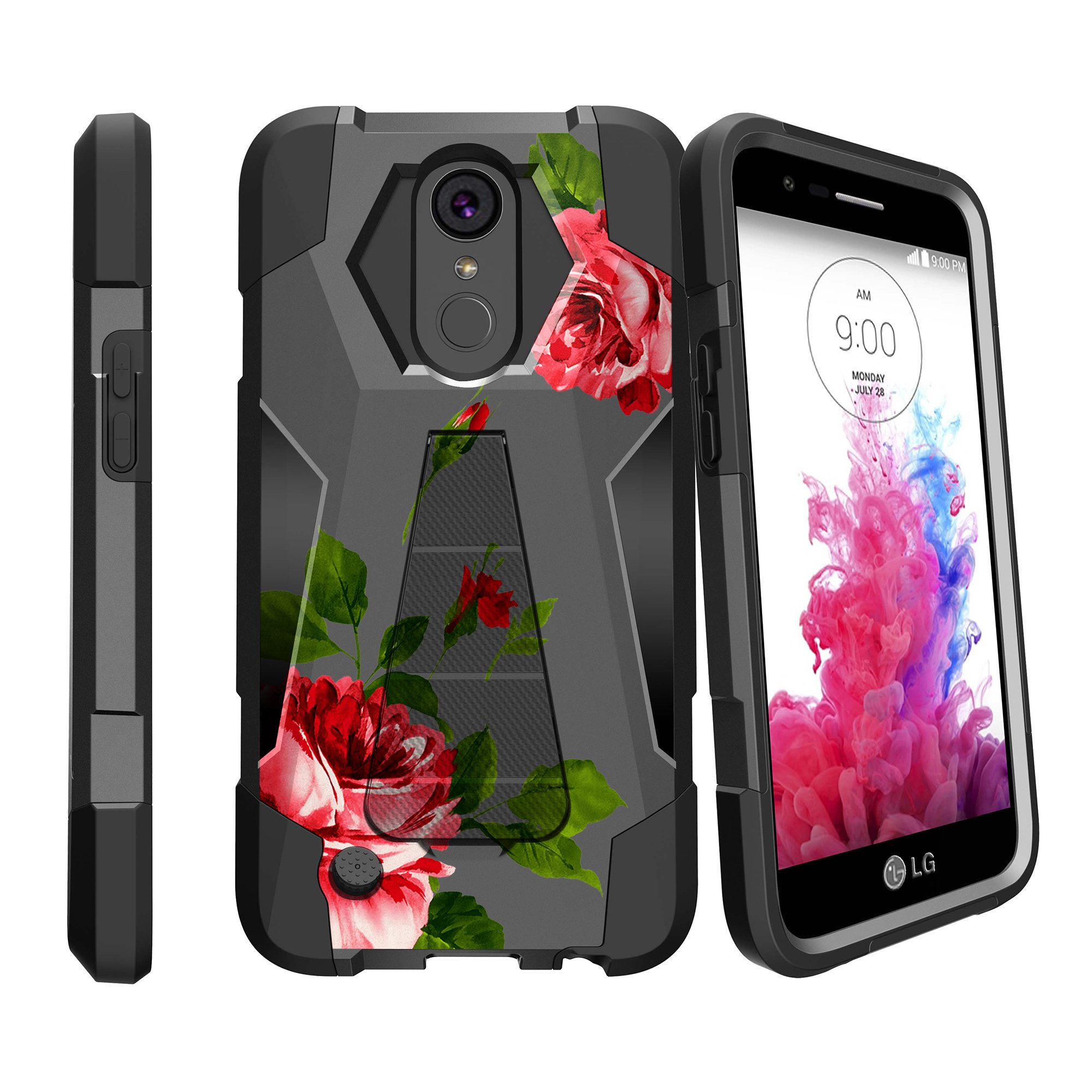 Case for LG K20 | K20 Plus | K10 2017 Version [ Shock Fusion ] Hybrid Layers and Kickstand Case Flower Collection