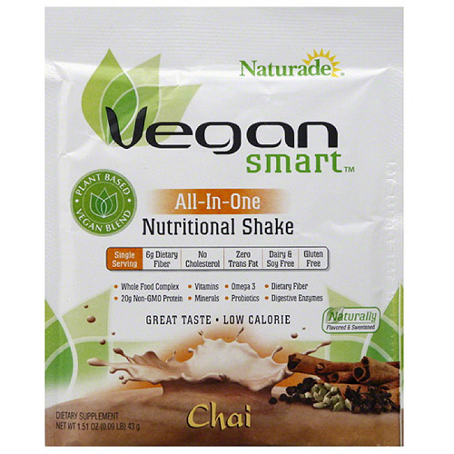 Naturade VeganSmart All-In-One Chai Nutritional Shake Mix Dietary Supplement, 1.51 oz, (Pack of 12)