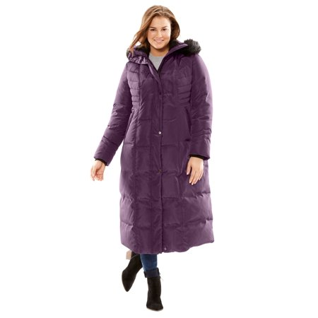 b57790598e0 Woman Within - Plus Size Hooded Faux Down Puffer Coat - Walmart.com