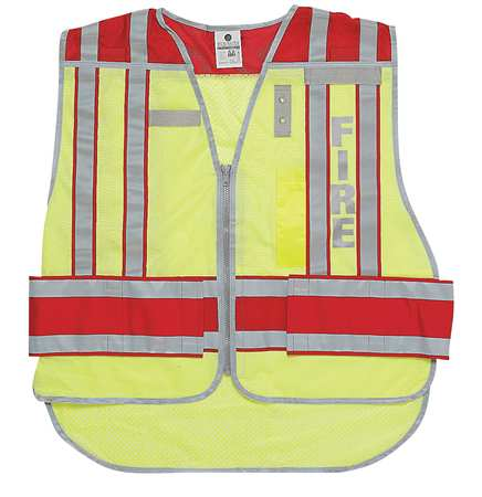 Pro Police Safety Vest,Lime/Red ZORO SELECT 4003BV-2X-4X