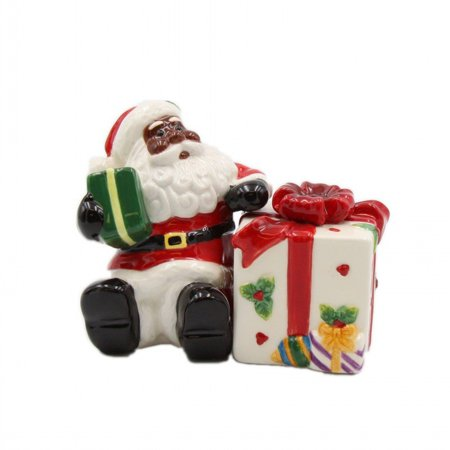 African American Santa With Gift Salt And Pepper Shaker Set
