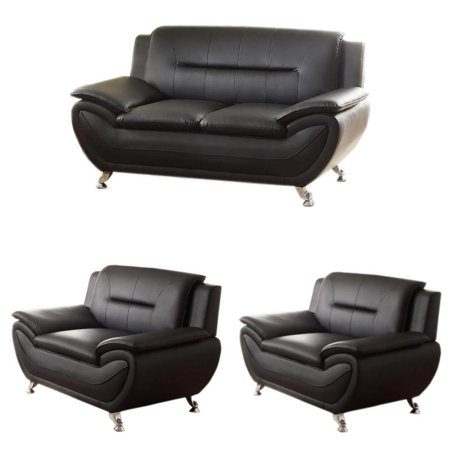 3 Piece Living Room Set with Loveseat and 2 Armchairs in Black ()