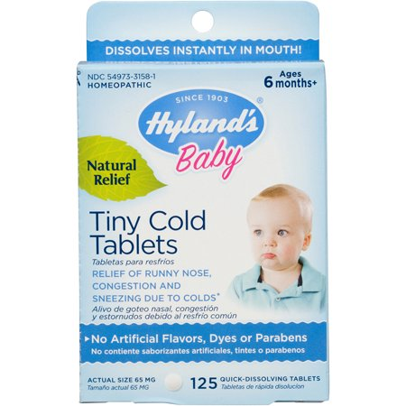 Hyland's Baby Tiny Cold Tablets, Natural Relief of Runny Nose, Congestion, and Occasional Sleeplessness Due to Colds, 125 Quick-Dissolving