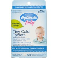 Hyland's Baby Nighttime Tiny Cold Tablets, Natural Relief of Runny Nose, Congestion, and Occasional Sleeplessness Due to Colds, 125 Quick-Dissolving Tablets