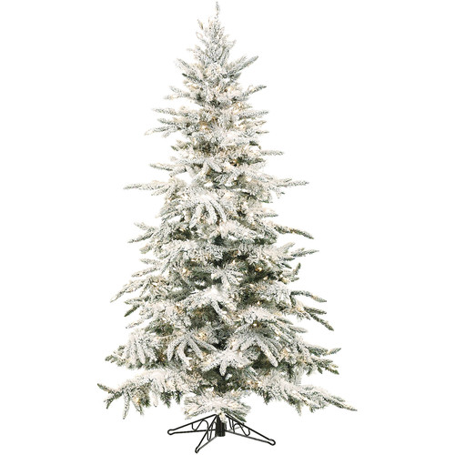 Fraser Hill Farm Mountain Pine 7.5' Green Pine Artificial Christmas Tree with 550 LED String Multi-Color Lights with Flocked Branches and Stand