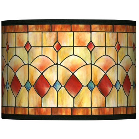 Giclee Glow Tiffany-Style Reds Drum Lamp Shade 13.5x13.5x10 (Spider) ()