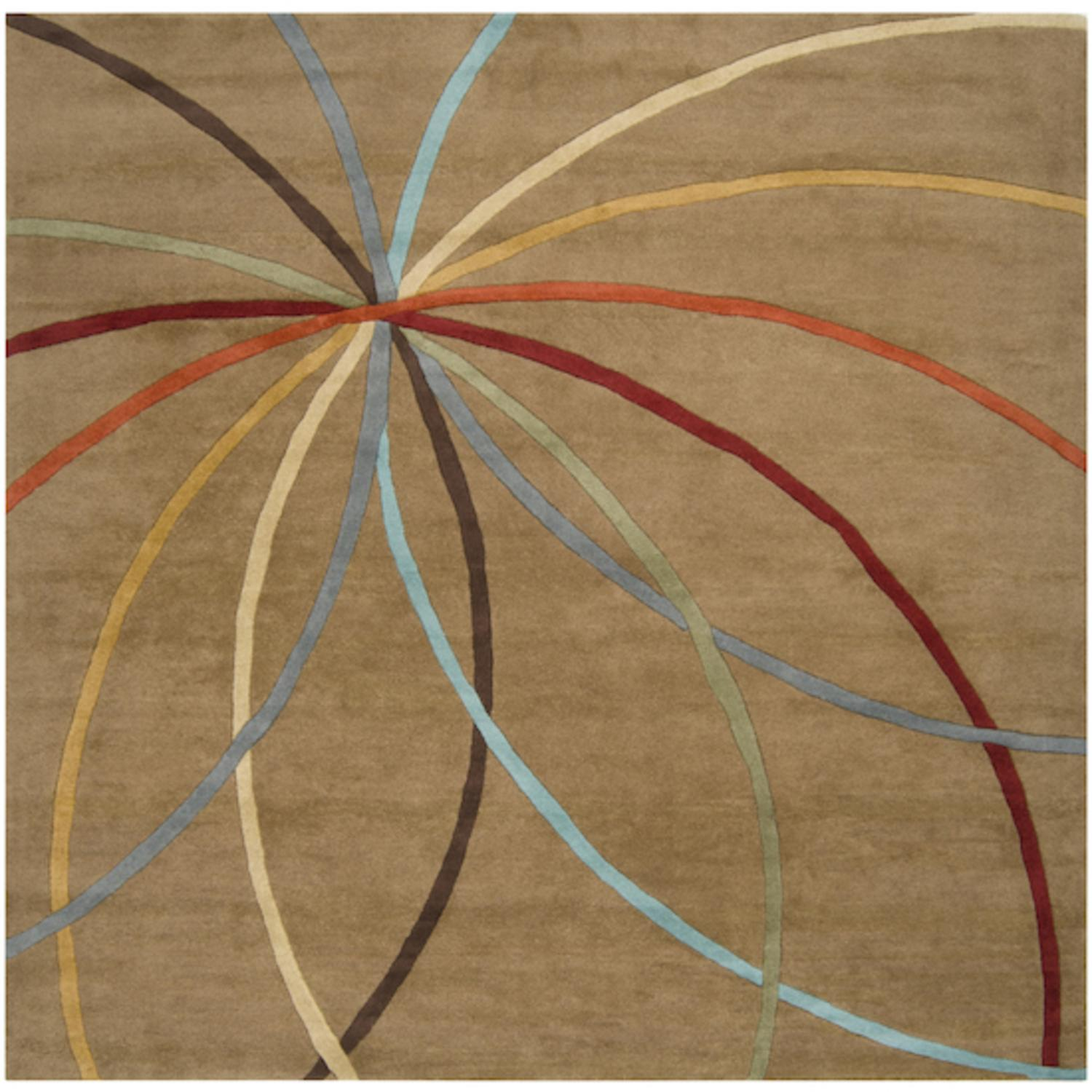6' x 6' Plasma Elektra Contemporary Multi-Colored and Tan Wool Area Throw Rug