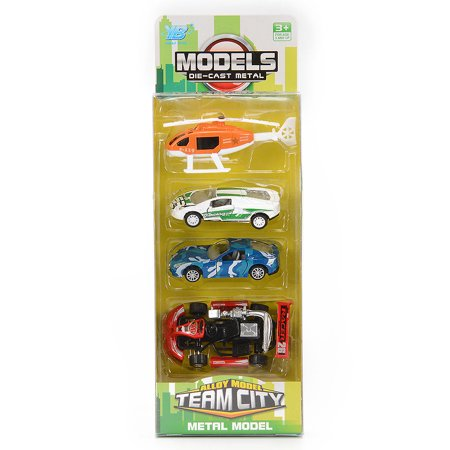 4PCS Diecast Metal Car Models Cars and Helicopter Play Set Pull Back Cars Vehicle Playset ()