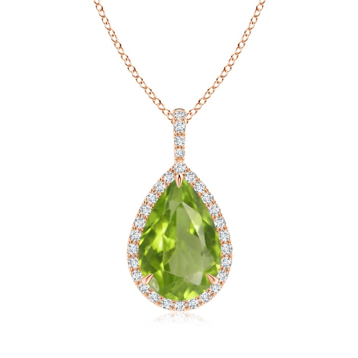 Angara Pear Shaped Peridot Necklace in Yellow Gold zsu76fN