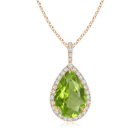 Angara Pear Shaped Peridot Drop Pendant with Diamond in 14K Rose Gold Mx4C8U