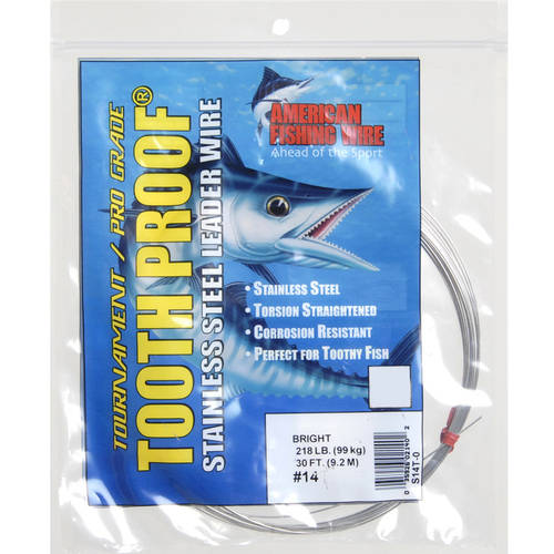American Fishing Wire Pro-Grade #14 ToothProof 30' Clear Leader Wire