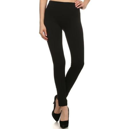 Sakkas Cable Knit Fleece Lined Leggings - Black - One Size Plus