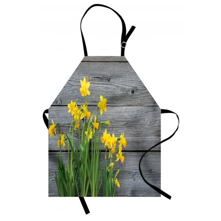 Yellow Flower Apron Bouquet of Daffodils on Wood Planks Gardening Rustic Country Life Theme, Unisex Kitchen Bib Apron with Adjustable Neck for Cooking Baking Gardening, Yellow Grey, by Ambesonne