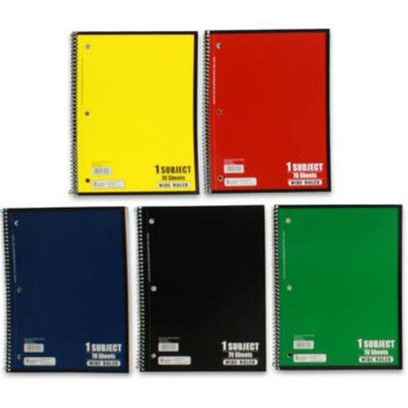 norcom college ruled spiral bound notebook 70 sheets assorted colors (pack of 5)