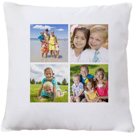 Personalized Photo Collage Throw Pillow, Available with 4 photos or 9 photos