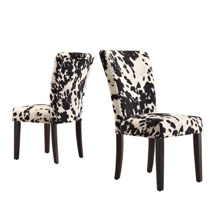 Homelegance Royal Cow Hide Fabric Parson Chairs Espresso