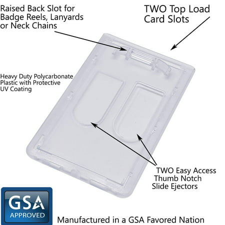 Bulk 50 Pack - Heavy Duty Dual Sided Badge Holders - Holds 2 Cards - Polycarbonate Vertical - Durable Rigid Clear Hard Plastic Badges - Secure Top Load Sleeve Card Protector Case by Specialist ID (Two Sided Id Holder)