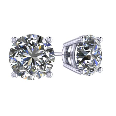 - 1.50TW Swarovski Zirconia 4 Prong CZ Stud Earrings Sterling Silver with 14kt Platinum Plated Posts Hypoallergenic