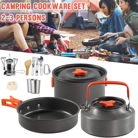 14Pcs Outdoor Picnic Camping Cookware Cooking Hiking Aluminium Bowl Pot Pan Set for 2-3