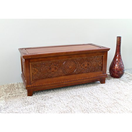 International Caravan Windsor Hand Walnut Stain Carved Storage Bench