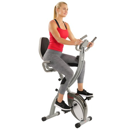 Sunny Health & Fitness Folding Exercise Bike with Magnetic Semi Recumbent Upright High Weight Capacity and Pulse Monitoring - SF-B2721 Comfort