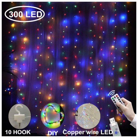 TSV 300LED Window Curtain String Light Wedding Party Home Garden Bedroom Outdoor Indoor Wall Decorations, 3x3m USB Remote Control 8 Lighting Modes Hanging String Lights ()