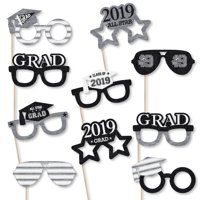All Star Grad Glasses - 2019 Paper Card Stock Graduation Party Photo Booth Props Kit - 10 Count
