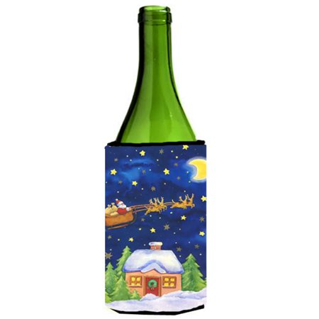 Santa Claus Wine Bottle - Christmas Santa Claus Across the Sky Wine Bottle Can cooler Hugger