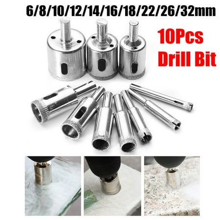 10Pcs Diamond Holesaw Drill Bit Hole Saw Set For Cutter Glass Ceramic Marble 6-32mm