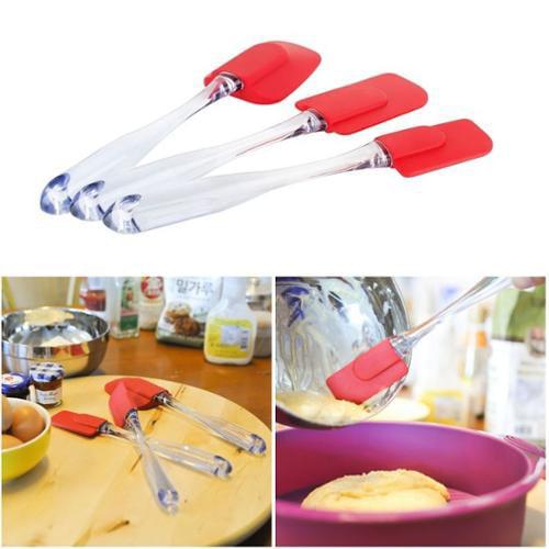 Zodaca Silicone Kitchen Cooking Utensil Spatula 3 Piece Set Spoon New Mixing Batter Scraper Brush Baking Tool