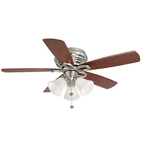 Hampton bay clarkston 44 in brushed nickel ceiling fan with light kit