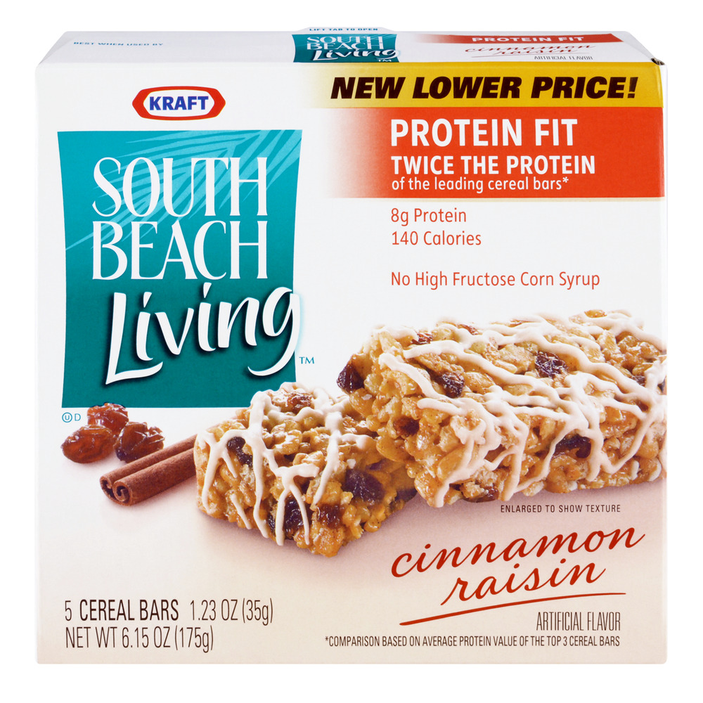 Kraft South Beach Living Cinnamon Raisin Cereal Bars, 5.0 CT